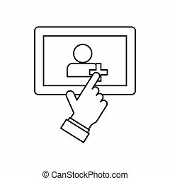 Hand pointing finger to tablet screen icon - icon in outline...