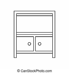 Cabinet storage icon, outline style - icon in outline style...