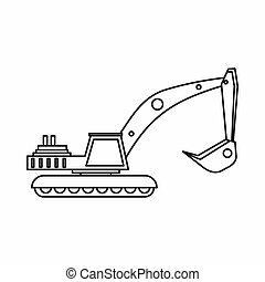 Excavator icon in outline style - icon in outline style on a...