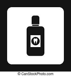 Plastic bottle of mouthwash icon, simple style - Plastic...