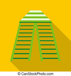 Circus tent icon, flat style - Circus tent icon in flat...