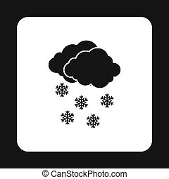Cloud and snowflakes icon, simple style - icon in simple...