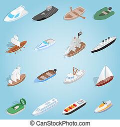 Ship set icons, isometric 3d style - Isometric ship set...