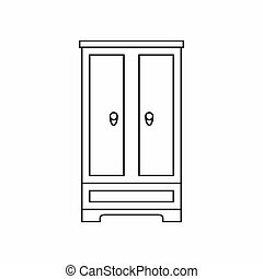 Wardrobe icon in outline style - icon in outline style on a...