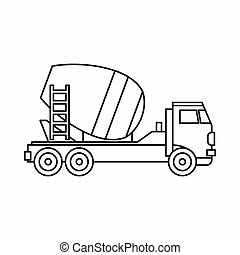Concrete mixer truck icon, outline style - icon in outline...