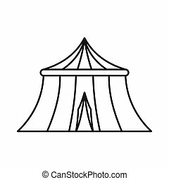 Circus tent icon, outline style