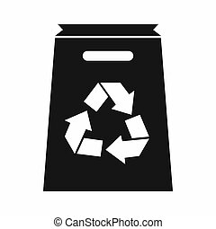 Recycle shopping bag icon, simple style - Recycle shopping...