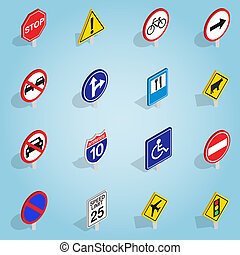 Road sign set icons, isometric 3d style - Isometric road...