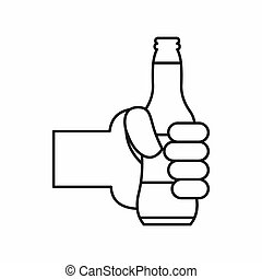 Hand holding a beer bottle icon, outline style - Hand...