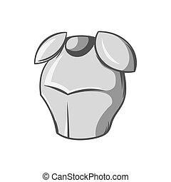 Metal combat helmet icon, black monochrome style