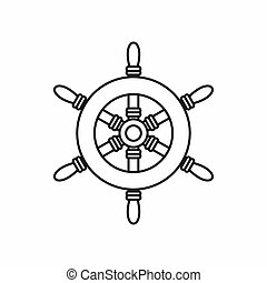 Ship steering wheel icon, outline style - Ship steering...