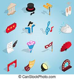 Theatre set icons, isometric 3d style - Isometric theatre...