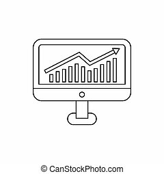 Growth graph on the computer monitor icon - icon in outline...