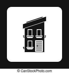 Two storey house icon, simple style - Two storey house icon...