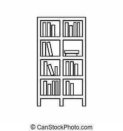 Bookcase icon in outline style - icon in outline style on a...