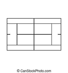 Tennis court icon, outline style - icon in outline style on...