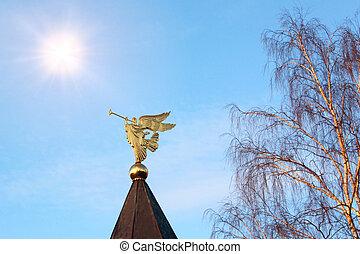 dourado, figura, arcanjo, cano