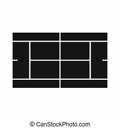 Tennis court icon in simple style on a white background...
