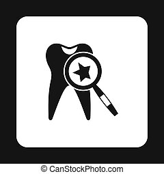 Teeth inspection icon, simple style - Teeth inspection with...