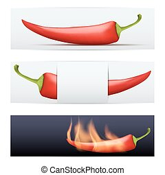 Hot Pepper pattern food banners - Red Hot Pepper pattern...