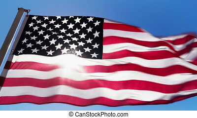 American flag and sunlight - The general plan of the...