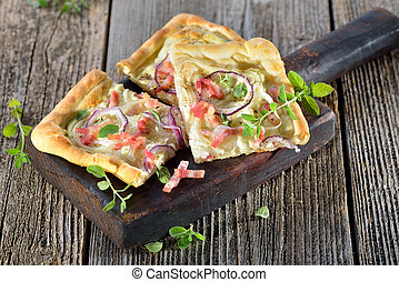 Tarte flambee - Tarte Flambee from Alsace with onions and...