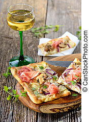 Tarte flambee - Tarte Flambee from Alsace with sour cream,...
