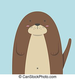 cute big fat otter on light blue background