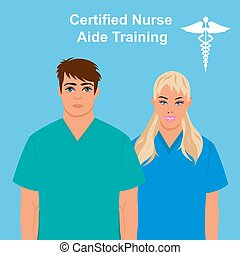 Certified  nurse aide training concept, vector illustration