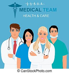 medical team and health care concept, vector illustration