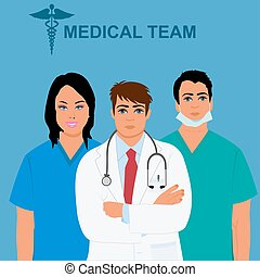 medical team concept, physician, doctor, nurse, vector...