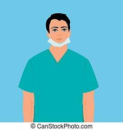 surgeon, doctor, nurse, vector illustration
