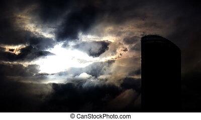 Multitude of lightnings striking skyscraper - time lapse -...