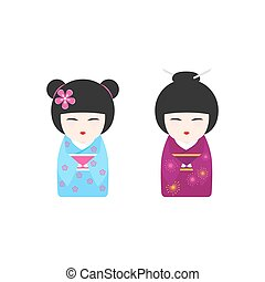 Vector illustration with Japanese Kokeshi Dolls on white...