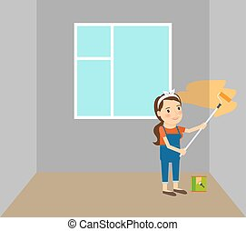 Woman making repairs in home - Woman making repairs in her...