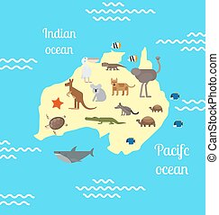 Australia animals world map for children. - Animals world...