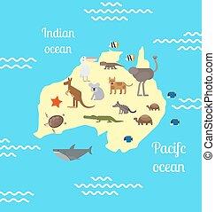 Australia animals world map for children. - Animals world...