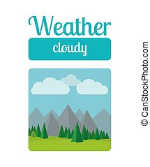 Cloudly weather illustration - Weather illustration in flat...