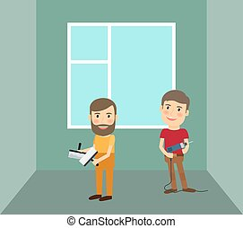 Men making repairs in room vector illustration