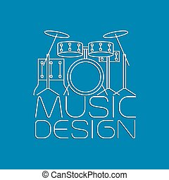 Music design with drum kit logo - Music design with drum kit...