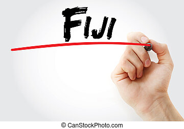 Hand writing Fiji with marker, concept background