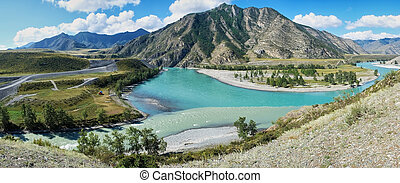 Place of the confluence of the rivers Katun and Chuya in...