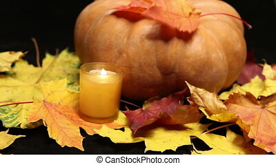 The candle burns before pumpkin and maple leaves on dark background
