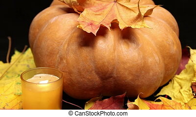 The candle burns before pumpkin and maple leaves on dark...
