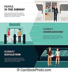 Subway People Banners - FLat design horizontal banners with...