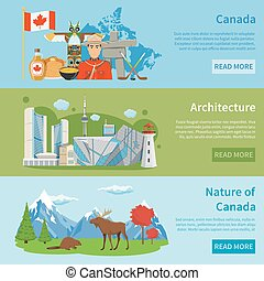 Canada Travel Information 3 Flat Banners - Canadian culture...