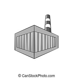 Beer bottling building icon, monochrome style - Beer...