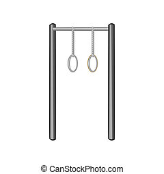 Horizontal bar with climbing rings icon - icon in black...