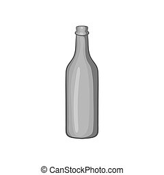 Beer bottle icon, black monochrome style - Beer bottle icon...
