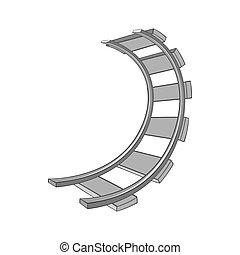 Railroad icon, black monochrome style - Railroad icon in...